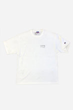Load image into Gallery viewer, VHTS MACARONI LOGO TEE (CHAMPION COTTON T) WHITE Note! This Tee is oversize. If you prefer a more regular fit we suggest to size down. 100 % Cotton Loose fit Heavy Champion Cotton Tee To avoid shrinking, wash at 30 Degrees and do not tumble dry. Hang dry post wash and iron out flat avoiding the design. vhts europe