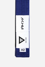 "Load image into Gallery viewer, brazilian jiu jitsu blue HEMP BELT vhtseurope vhtsny 11OZ 100% Hemp Twill Fabric Two Layers Of High-density Cotton Supporting Inner Core Of The Belt 8 Rows Stitching Belt Width: 1-5/8"" Belt Thickness: 1/4"" Grading Bar Length: 5-1/4"""