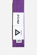 "Load image into Gallery viewer, brazilian jiu jitsu purple HEMP BELT vhtseurope vhtsny 11OZ 100% Hemp Twill Fabric Two Layers Of High-density Cotton Supporting Inner Core Of The Belt 8 Rows Stitching Belt Width: 1-5/8"" Belt Thickness: 1/4"" Grading Bar Length: 5-1/4"""