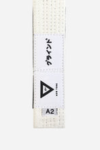 "Load image into Gallery viewer, brazilian jiu jitsu white HEMP BELT vhtseurope vhtsny 11OZ 100% Hemp Twill Fabric Two Layers Of High-density Cotton Supporting Inner Core Of The Belt 8 Rows Stitching Belt Width: 1-5/8"" Belt Thickness: 1/4"" Grading Bar Length: 5-1/4"""