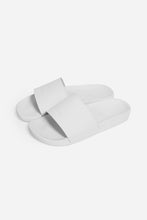 Load image into Gallery viewer, brazilian jiu jitsu apparel vhtseurope vhtsny white MEA – SLIDE this product is most comfortable and durable slide in the game! Leather Upper Band Polyurethane Sole Light Weight Comfortable Sole Durable Minimalistic Clean Design   vhts europe