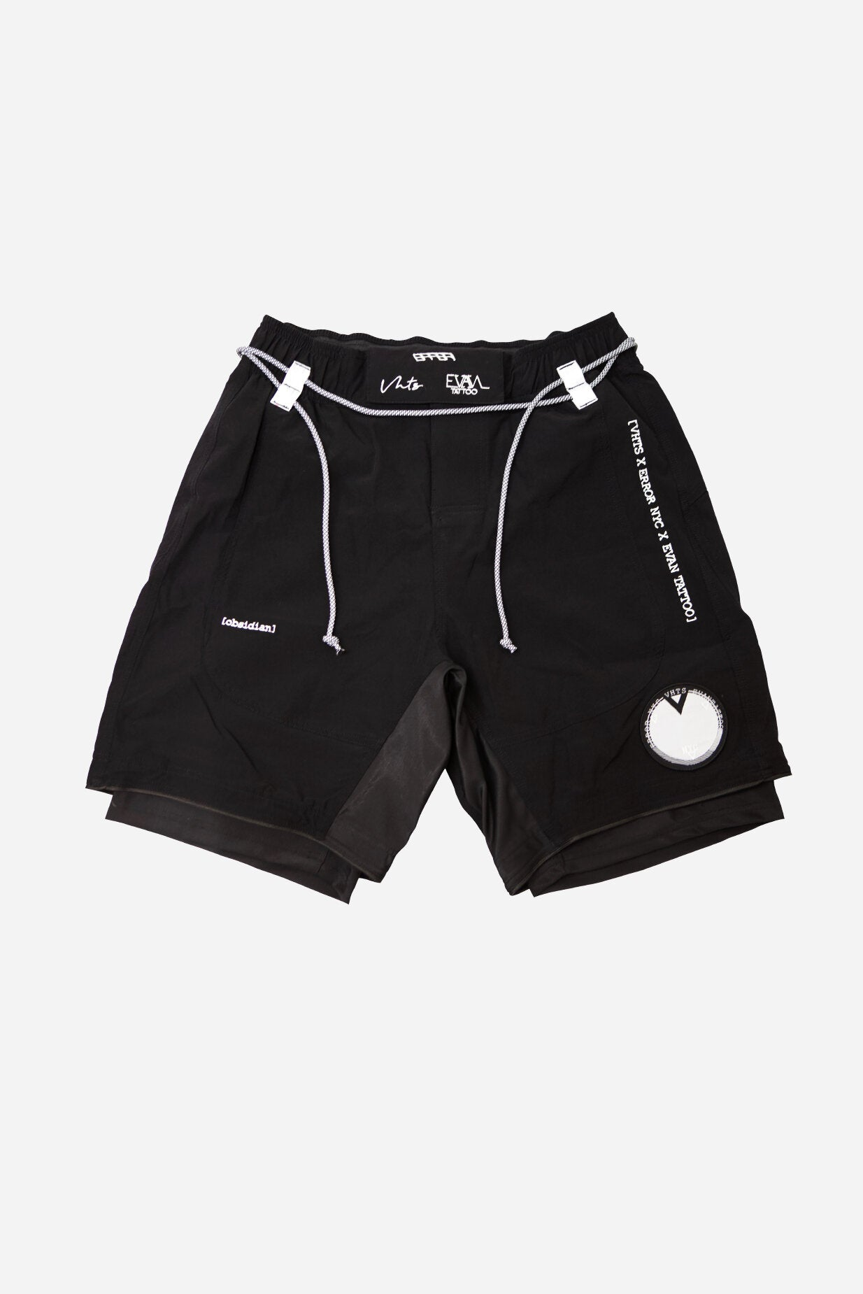 ERROR NYC x EVAN TATTOO Collaboration combat shorts front vhts europe