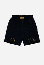 Load image into Gallery viewer, PREMIUM FIGHT SHORTS GOLD Feature 100% polyester fabric gel printed grip inside waist band classic length with no side opening embroidery design flat draw string   vhts europe