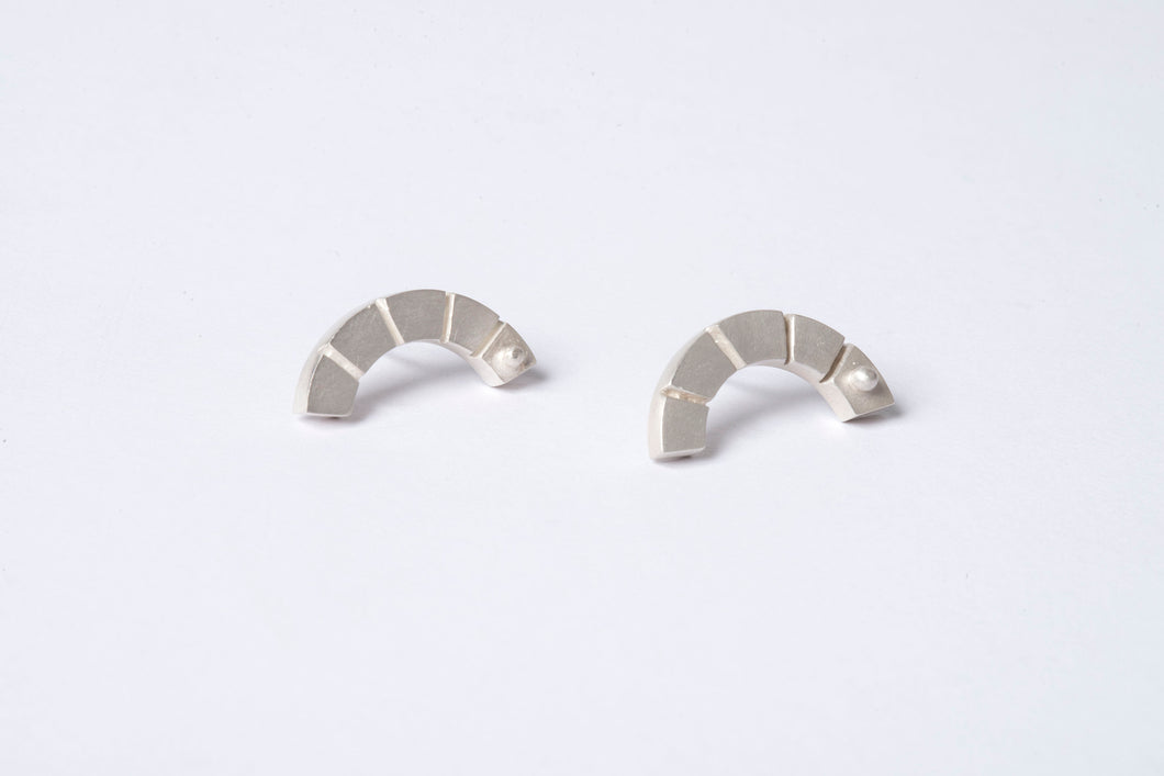 Notched Arc Stud Earrings