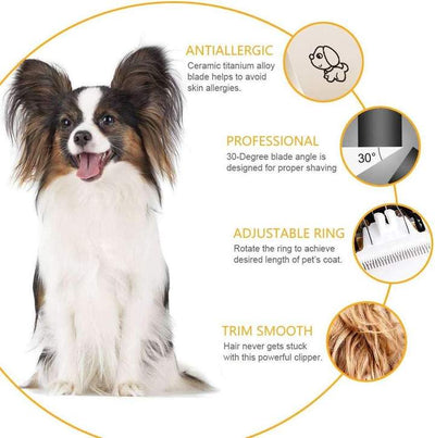 Pet Hair Clippers Cordless Dog Cat Fur Hair Trimmer
