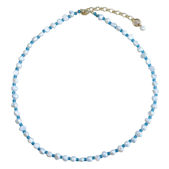 Freshwater Pearl and Blue Glass Bead Choker (Flat View)