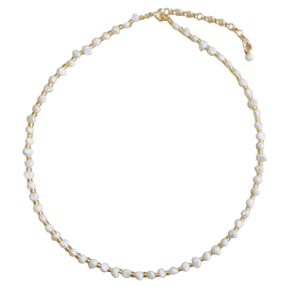 Freshwater Pearl and Gold Bead Choker (Flat View)
