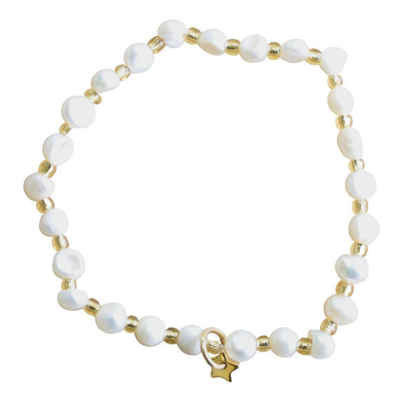 Freshwater Pearl and Gold Bead Stretch Bracelet with Gold Charm (Flat View)