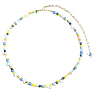 Freshwater Pearl / Multi-coloured Seed Bead Choker (Flat View)