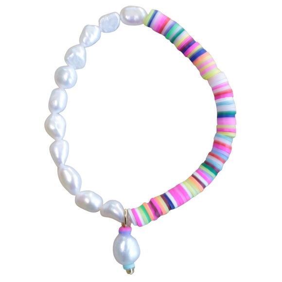 Freshwater Pearl / Multi-coloured Bead Stretch Bracelet (Flat View)