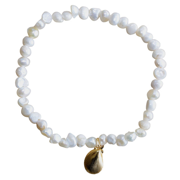 Freshwater Pearl Stretch Bracelet with Gold Charm (Flat View)