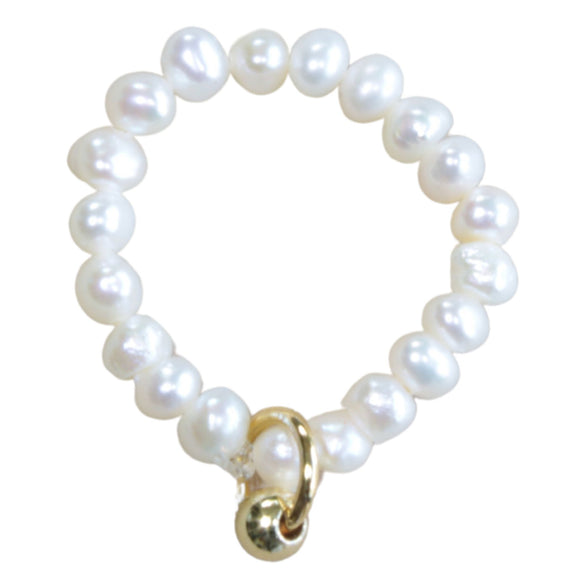Freshwater Small Pearl Stretch Ring Plain (Flat View)