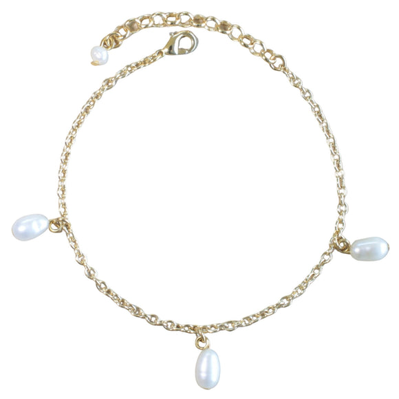 Gold Plated Chain Bracelet with 3 Freshwater Pearl Drops (Flat View)