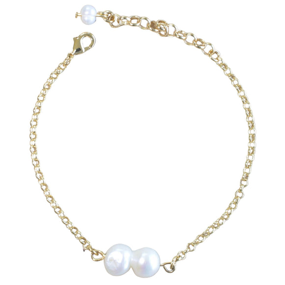 Gold Plated Chain Bracelet with Freshwater Pearl Links (Flat View)