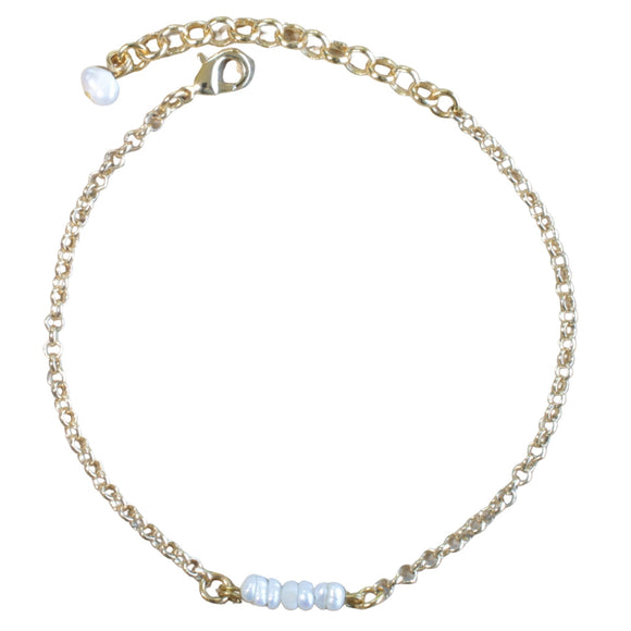 Gold Plated Chain Bracelet with Pearl Bar Pendant (Flat View)