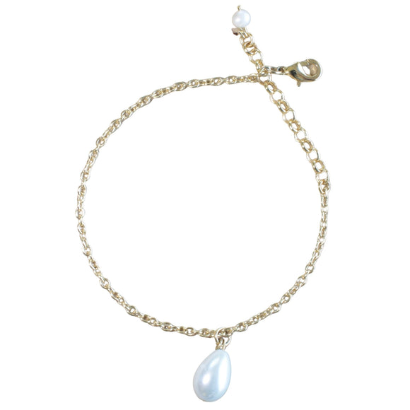 Gold Plated Chain Bracelet with Single Pearl Charm Drop (Flat View)