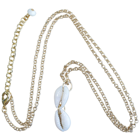 Gold Plated Chain Necklace with Double Shell Drop Pendant (Flat View)
