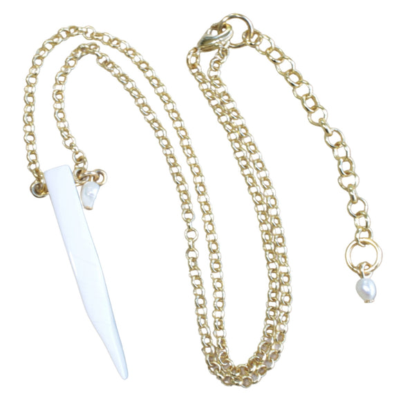 Gold Plated Chain Necklace with Mother of Pearl Pendant (Flat View)