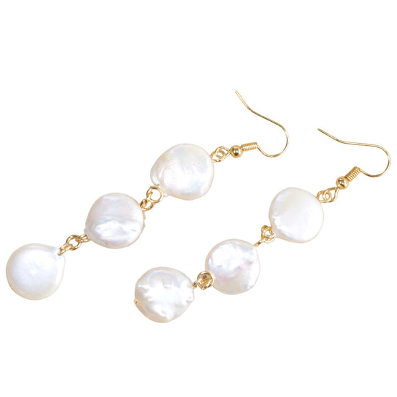 Gold Plated Hook Earrings with Freshwater Pearl Drop Pendant (Flat View)