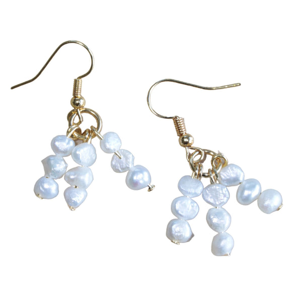 Gold Plated Hook Earrings with Triple Freshwater Pearl Drops (Flat View)