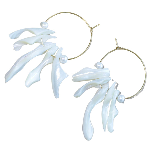 Gold Plated Hoop Earrings with Natural Shell Pieces (Flat View)