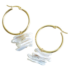 Gold Plated Hoop Earrings with Natural Stick Pearl Drop (Flat View)