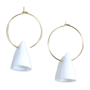 Gold Plated Hoop Earrings with Spiral Shell Drop (Flat View)