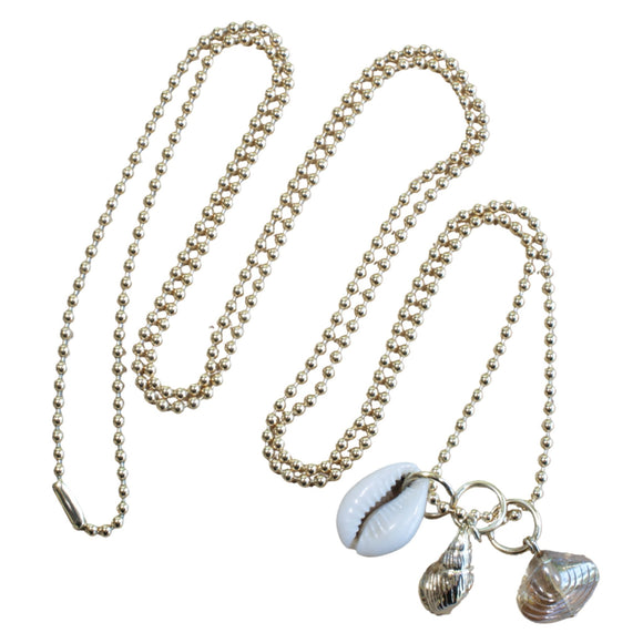 Gold Plated Long Ball Chain Necklace with 3 Shell Charms (Flat View)