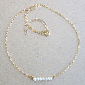 Gold Plated Chain Necklace with Pearl Bar Pendant