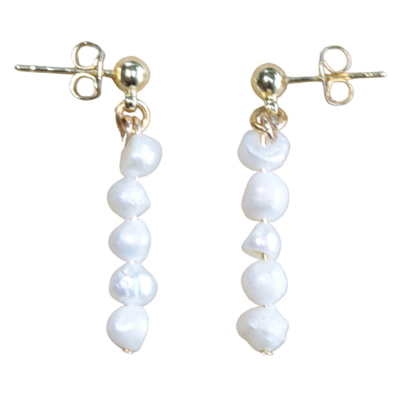 Gold Plated Stud Earrings with Freshwater Pearl Drop (Flat View)
