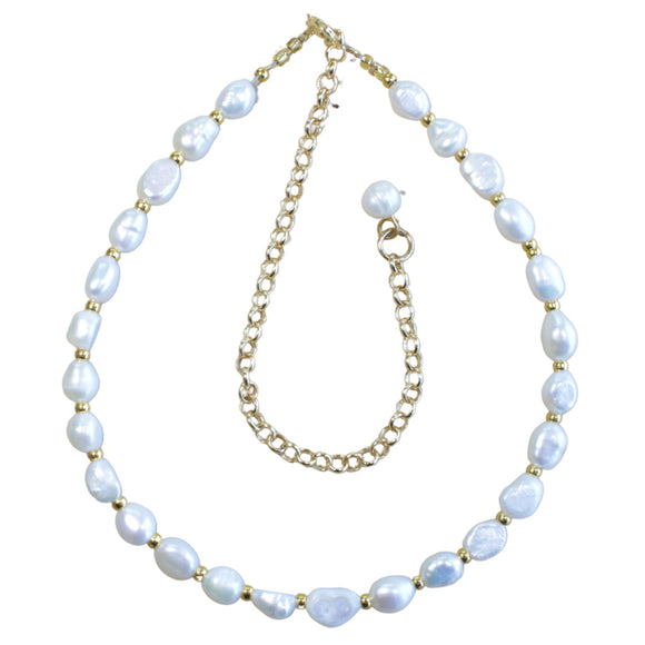 Large Freshwater Pearl and Rhondelle Gold Bead Choker (Flat View)