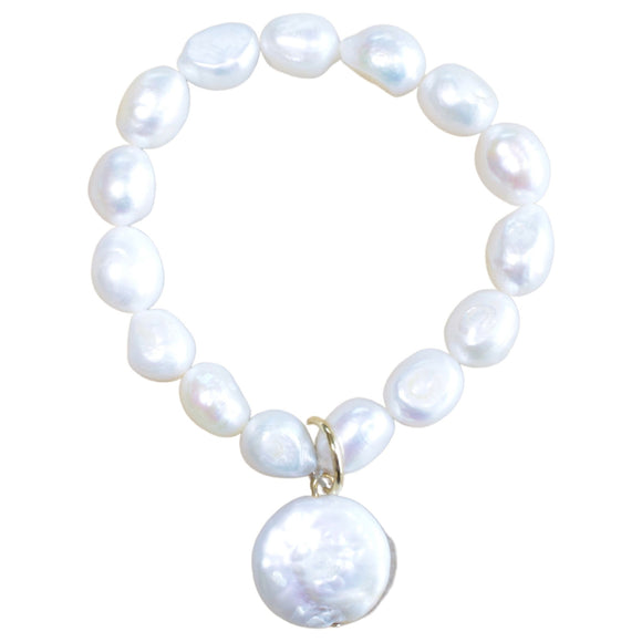 Large Freshwater Pearl Stretch Bracelet with Pearl Button Charm (Flat View)