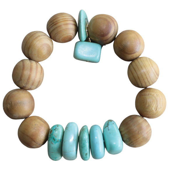 Sandalwood Stretch Bracelet with Blue Howlite Nugget Beads and Charm (Flat View)