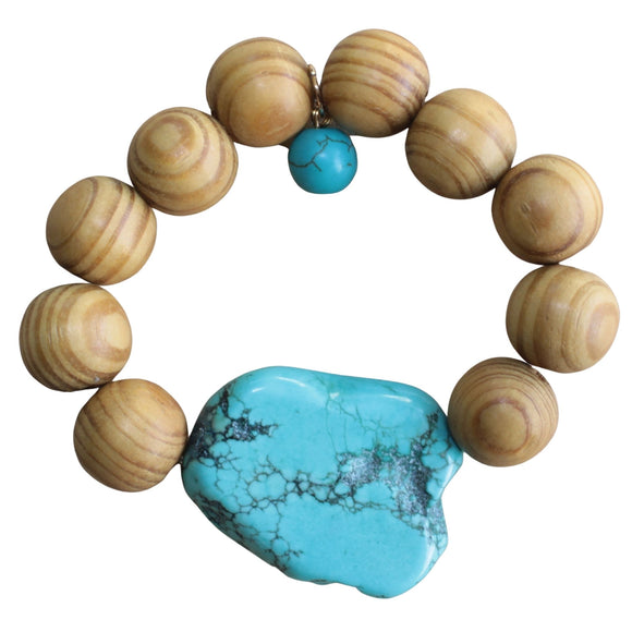 Sandalwood Stretch Bracelet with Blue Howlite Pendant and Charm (Flat View)