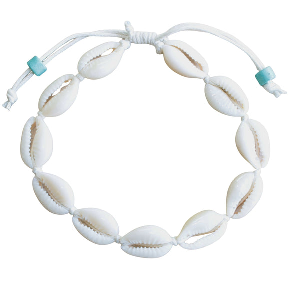 Shell Anklet Plain on White Cord (Flat View)