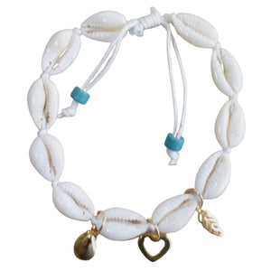 Shell Anklet with Gold Charms (Side View)