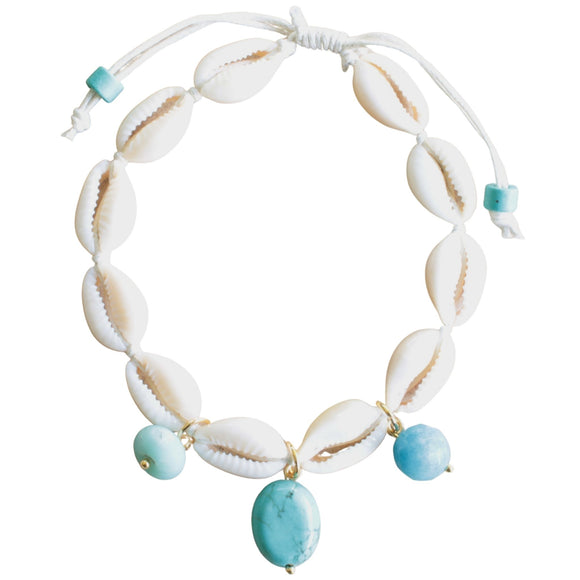 Shell Anklet with Semi-precious Bead Drops on White Cord (Flat View)