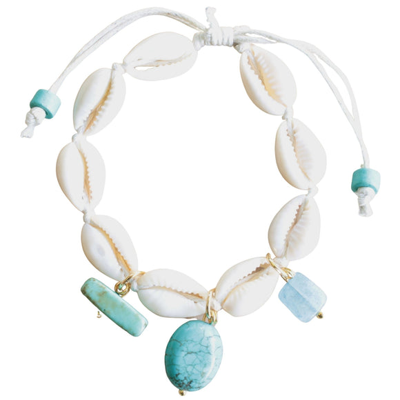 Shell Bracelet with Semi-precious Bead Drops on White Cord (Flat View)