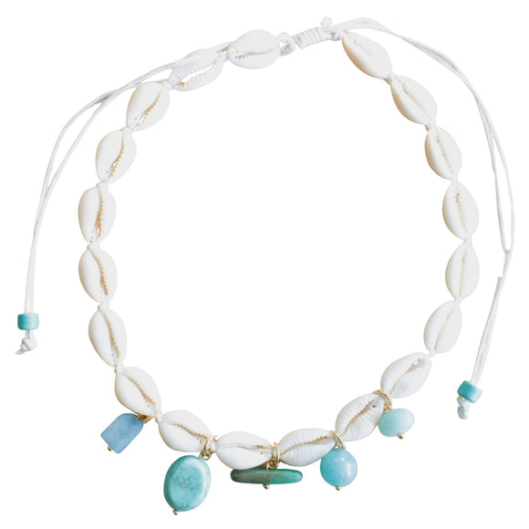 Shell Necklace with Semi-precious Bead Drops on White Cord (Flat View)
