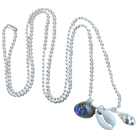 Silver Plated Long Ball Chain Necklace with 3 Shell Charms
