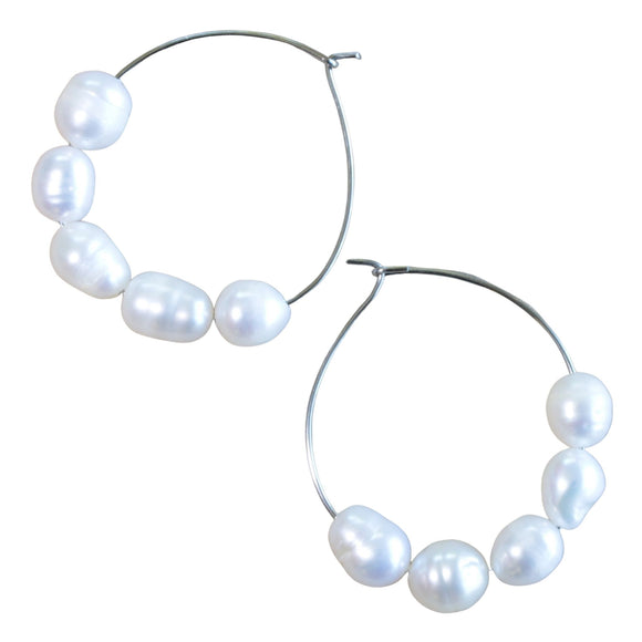 Stainless Steel Hoop Earrings with Row of 5 Freshwater Pearls (Flat View)