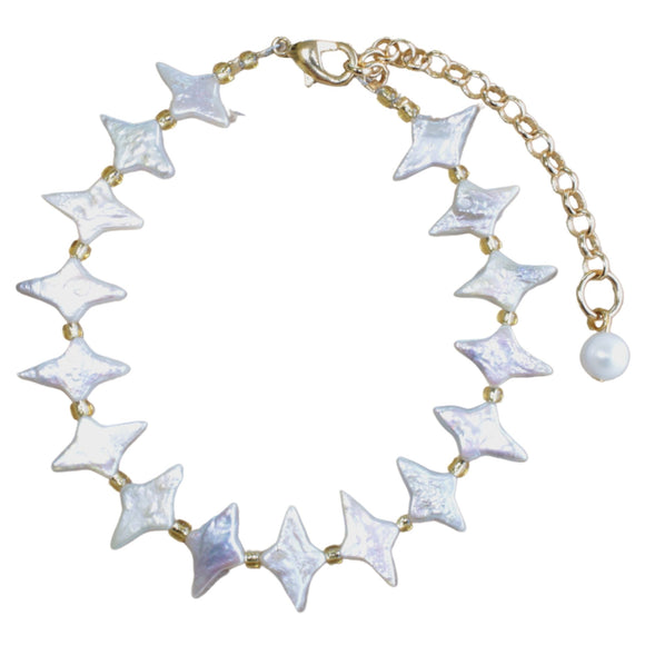 Star Shaped Freshwater Pearl and Gold Bead Statement Bracelet (Flat View)
