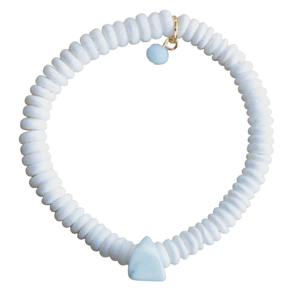 White Shell Bead Stretch Bracelet with Blue Howlite Feature Bead (Flat View)