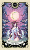 "card labeled ""the moon."" depicts a woman in a flowing dress hip deep in water in a flooded village. the moon hangs above her"