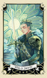 "card labeled ""king of swords."" depicts man in gilded armor and a crown, holding a sword"
