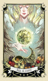 "card labeled ""ace of coins."" depicts a large golden disk hanging over an overflowing cornucopia."