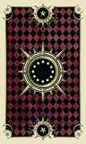 image of card back. red and black checkered field with a spiked circular symbol at the center
