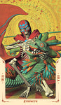 "card labeled ""strength."" depicts a skeleton dressed as a luchador wresting a dragon-shaped alebrije"