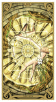 "card labeled ""the sun."" depicts two faceless humans circling around a glowing golden orb adorned with runes."