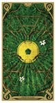 "card labeled ""ace of pentacles."" depicts a holed chinese coin with roots and vines growing around it."